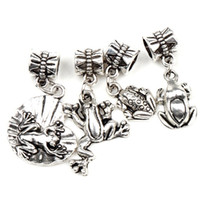 Wholesale Toad Charms - Frog Toad Charms Big Hole Beads 60pcs lot 4Styles Tibetan Silver Fit Bracelets Jewelry DIY Loose Beads