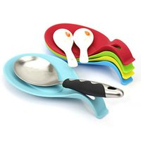 Wholesale Modern Kitchen Gadgets - Wholesale- Spatula Eggbeater Heat Resistant Silicone Pad Kitchen Gadget Holder Spoon Mat