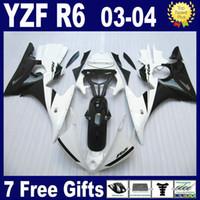 ingrosso yamaha r6 completa il kit di carenatura-Carenatura ABS bianco nero per carene YAMAHA R6 2003 2004 2005 Carrozzeria completa YZFR6 03 04 05 carena + regalo omaggio