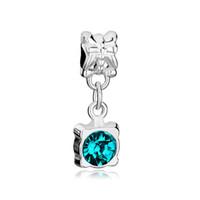 Wholesale Aquamarine European Charm - Round aquamarine crystal flower drop European style dangle bead infant lucky charms Fits Pandora charm bracelet