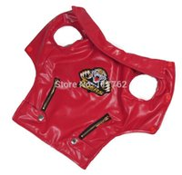 Wholesale Pic Large - Wholesale-Retail New Red Leather Tiger Pic Pet Dogs Vest Coat Free Shipping Dogs Clothes new clothing for dog