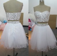 Wholesale Short Heavy Beaded Dresses - High Quality Two Pieces Prom Dresses 2015 Custom Made Real Picture Dress Party Evening Shining Heavy Beaded White Red Gown with Sequin Tulle