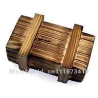 Wholesale wholesale wooden puzzles boxes - Wholesale-50pcs lot secret lock Magic IQ gift box Magic wooden gifts box Promotional gift idea- Brain Teaser puzzle free shipping-EMS