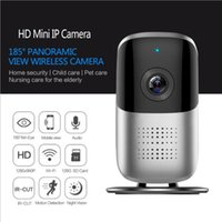 Wholesale mini fish eye - Wireless Camera 1080P HD Night Vision Two Way Audio P2P 180 degree fish Eye Panoramic Wifi mini IP camera for Home Security