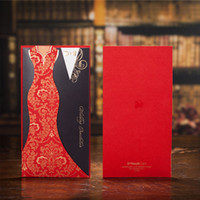 Wholesale Dress Style Invitation - Typical Asian Red Black Panelled Wedding Invitations Cards Dress Suit Cover Carving Paper Pullout Style 50 Pieces At Least