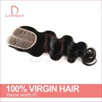 6a insan saçı vücut dalgası toptan satış-Sınıf 6A Malezya Bakire Saç Dantel Kapatma Ücretsiz / Orta / 3 Bölüm Üst kapanışları İnsan Saç Uzantıları Vücut Dalga Doğal Renk İnsan Saç Kapatma