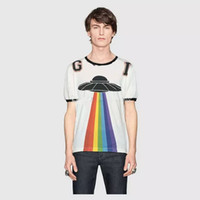 fashion Brand t-shirt Designer g Summer red green stripe lettera disco volante stampa ricamo drago tshirt Runway Tees Top casual