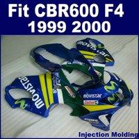 ingrosso honda cbr f4 abbellimento 1999 blu-Kit carene stampaggio ad iniezione per HONDA CBR 600 F4 1999 2000 blu 99 00 CBR600 F4 set carene BVFG