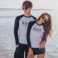 Wholesale couple swimwear for sale - 2018 newest design couples hot sexy long sleeve Rash Guard three pieces swimwear Surfing Suit Korean bathing suit beachwear