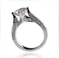 Wholesale Synthetic Jewelry Stone - 1CT Round Synthetic Diamond Ring Semi Mount Engagement Wedding Ring For Girl Jewelry 925 Silver White Gold Plated Romantic Pure Perfect Gift