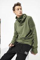 Wholesale Fleece Turtleneck - Men Winter Pullover Men's Frock Hooded Hoodie Patchwork Fleece Warm Turtleneck Loose Casual New Designer Hoodies