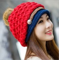 Wholesale Warm Ear Covers For Winter - Wholesale-2015 winter Woman Knitting Wool Hat keep warm Cover ear Winter hats for men and women