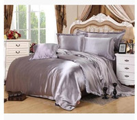 Wholesale bedspread grey king size beds for sale - Silver bedding sets California king size queen full grey duvet cover fitted silk satin sheet bed in a bag double bedspreads