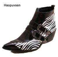 Wholesale zebra high boots - New Winter Shoes Genuine leather Men Pointed Toe Buckle Men's Dress Boots zebra strip Men Height Inceased Men's High heels size36-