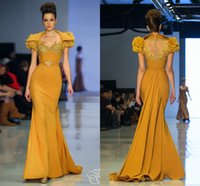 Wholesale Sequins Mesh Dress - 2017 Fouad Sarkis Runway Evening Dresses Long Party Gowns Sheer Jewel Floral Cap Sleeves Gold Beads Sequined Lace Appliques Zipper Back Mesh