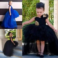 Wholesale Toddler High Low Dresses - 2018 Fashion High Low Girls Pageant Dresses Tulle Tutu Puffy Ball Gowns Kids Flower Girl Dress Appliques Sleeveless Toddler Christmas Gown