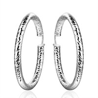 Wholesale Plant Hoops - Fashion Silver Earrings , 925 Silver Hoop Earrings Party Women's Earrings Mark 925 Jewelry Free Shipping e592