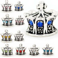 Wholesale Fit Loose Diamonds - 100pcs mixed whoelsale austrian crystal loose bead cz diamond crown silver beads fit for European style Pandora charm bracelet DIY jewelry