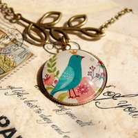 Wholesale Blue Bird Jewelry - Fairy Ethnic Blue Bird Pendant Necklace New Long Sweater Necklaces Vintage Fashion Jewelry Valentine Day Gift For Woman -J505