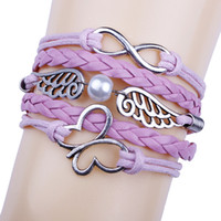 charme für armbänder eine richtung großhandel-Damenmode One Direction Sideways Love Heart Leder Unendlichkeit Armbänder für Frauen Bangles Weave Braided, Multicolor Charm Armband