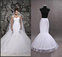 gelin bir çemberlik petticoat toptan satış-Stokta ucuz Bir Hoop Flounced Mermaid Petticoats Gelin Kabarık Etek Mermaid Düğün Gelinlik Düğün Aksesuarları Için CPA201