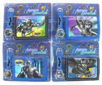 Wholesale Wholesale Watch Gift Set - 2015 New Cartoon BATMAN kids wallet and watches sets Purse Kids Fashion Quartz cartoon Wristwatches Children birthday Christmas gifts