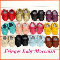 Wholesale Dropship Tie - 1 Pair Send 5 Sizes Leather Baby Moccasins Tassels Baby Shoe Girls Boys Chaussure First Walker Toddler Moccs 0-24M Dropship
