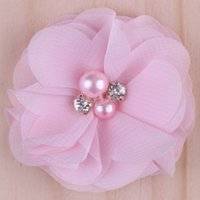Wholesale Wholesale Rhinestones Artificial - 2015 20colors Chiffon Flowers With Pearl Rhinestone Center Artificial Flower Fabric Flowers Children Hair Accessories Baby Headbands Flower