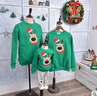 Wholesale Warm Santa Hat - Christmas family clothing father mommy and me santa claus velvet sweatshirt kids cute fleece christmas hat reindeer warm pullover R0535