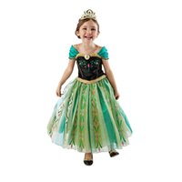 Wholesale Children S Tutu Party Dresses - Green Embroidered Baby Girls Dresses Fashion Children S Christmas Party Clothing with Printin A-Line Short Sleeve Cute Chinese Girls Dresses