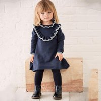 Wholesale 2t Sweater Dress - New Arrival Baby Girls Dress Long Sleeve Sweater Knitted Girl Cothing Dresses Ruffle Collar Children Girl's Dress Princess 80-110cm A8099
