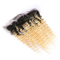 Ombre Blonde Ear to Ear 13x4 Lace Frontal Closure Deep Wave Virgin Brazilian 1B / 613 Ombre Blonde Human Hair Full Lace Frontal 8-24