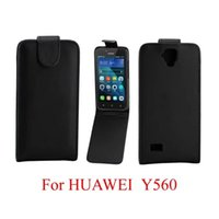 Wholesale Huawei Ascend Flip Case - For Huawei Ascend P10 Y530 Y560 Flip PU Leather Case Pouch Purse Pocket Synthetic Plain Smooth Skin Black vertical Cover Mobile phone Luxury