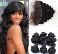 Wholesale natural weave hairstyles - G-EASY virgin brazilian loose wave 3 bundles and lace frontal closure 13x4 hair weave bundles with clouse best stars' hairstyle