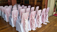 Wholesale Elegant Chair Sashes - Blush Pink Wave Details Romantic Chic Wedding Supplies Chair Covers Beautiful New Arrival Elegant Glamorous Fashion