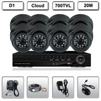 Wholesale H 264 D1 Resolution - 8CH H.264 D1 DVR CCTV Security Dome 3.6mm Camera System 700TVL Resolution