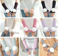 Pomp Ball Fingerless Gloves Arm Warmer Extra Long Winter Fuax Fur Mittens Вязаный кролик Fingerless Glove-J705