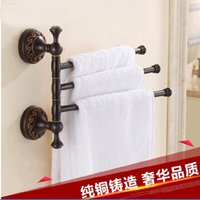 Wholesale towel rack bronze for sale - Group buy And Retail Luxury Oil Rubbed Bronze Wall Mounted Towel Rack Holder Swivel Bars Flower Carved Solid Brass Towel Hook