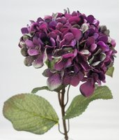 "Wholesale Silk Hydrangea Stems Wholesale - Faux Hydrangea Stem in burgundy brown 28 "" Tall 8 "" Diameter Flower Head Fake silk artificial flower for wedding party Christmas decoration"
