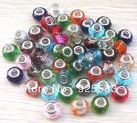 Wholesale Wholesale European Charm Braclet Beads - Wholesale-Free Shipping 14mm Crystal Glass 925 Stering silver cord Big Hole Loose Beads fit European Jewelry Braclet Charms DIY