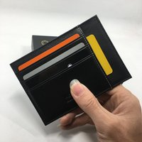 Wholesale Classic Licenses - Classic Black Genuine Leather Credit Card Holder Drivers License Wallet High Quality Mens ID Card Case Thin Purse 2017 New Arrivals Fashion