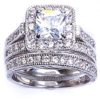Wholesale vintage bridal rings - Size5 6 7 8 9 10 Hot sale Retro Vintage Princess Cut Jewelry 10KT white gold filled GF whitr topaz Women Wedding Bridal Ring set gift