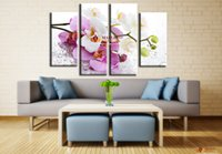 Wholesale Moder Painting - Free Shipping Hot Sell 4 Piece Canvas Wall Art Pink Orchid Flowers Cheap Modern Paintings Moder Home Decoration Living Room Canvas Print