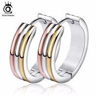 Wholesale Unique Earrings For Women - ORSA JEWELS Unique Multi Color Stainless Steel Hoop Earrings for Women Fashion Party Jewelry Wholesale GTE34