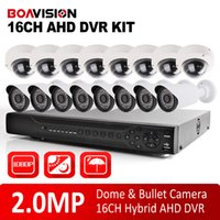 kit caméra dvr 16 canaux achat en gros de-16Ch AHD DVR Kit 1080P Système de vidéosurveillance 16 Chaîne AHD DVR Recorder + 2.0MP IR Outdoor Bullet / Dome Sécurité AHD Camera System Support P2P VIEW
