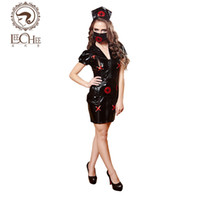 Wholesale Hot Nurse Uniform - Women Latex Leechee Y118 Sexy Lingerie Black PU Leather Nurse Uniform Cosplay hot Lady M L Slim Fashion Dress Nightclub Style