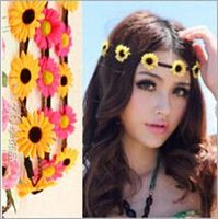 Wholesale Hair Accessories Flower Hoop - Bride Bohemian Flower Wedding Headbands Hair Accessories Floral Hoop Festival Wedding Floral Garland Hair Band Headwear for Women WHA31