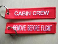 quitar etiquetas al por mayor-Quitar Antes de la cabina del vuelo Etiquetas de la tela del asistente Etiquetas bordadas llavero 13 x los 2.8cm 100pcs / lot