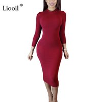 Wholesale Long Turtleneck Dress For Women - Liooil 2017 Autumn Dress Turtleneck Long Sleeve Black Wine Red Midi Bodycon Dresses Fashion Winter Plus Size Clothing For Women q171118