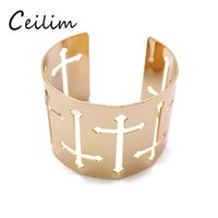 Nova moda Punk Rock Estilo Gold Color Big Wide Aqueça Cross Braceletes Braceletes Bangle Men Women Jewelry Wholesale
